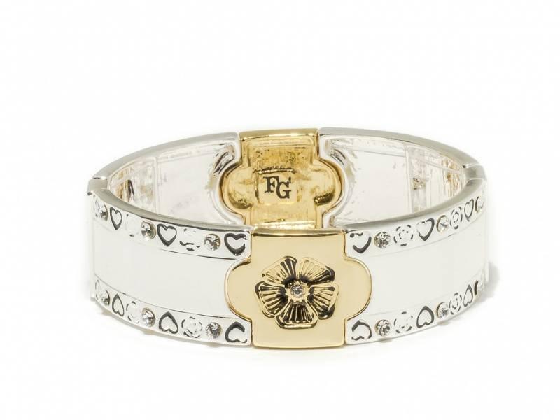 80148 Armbånd bredt med hjerter og plater med gullblomst