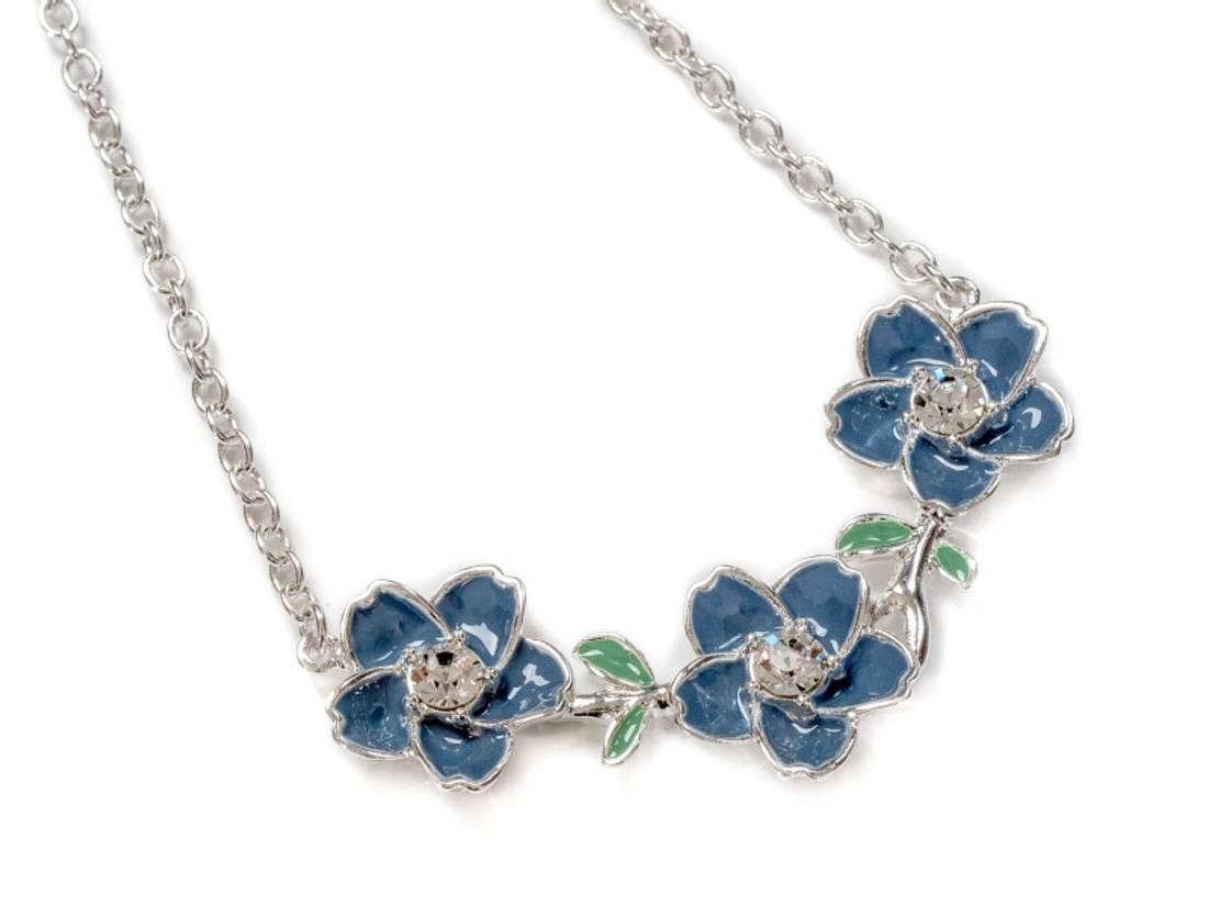 90151 kort smykke blå blomster