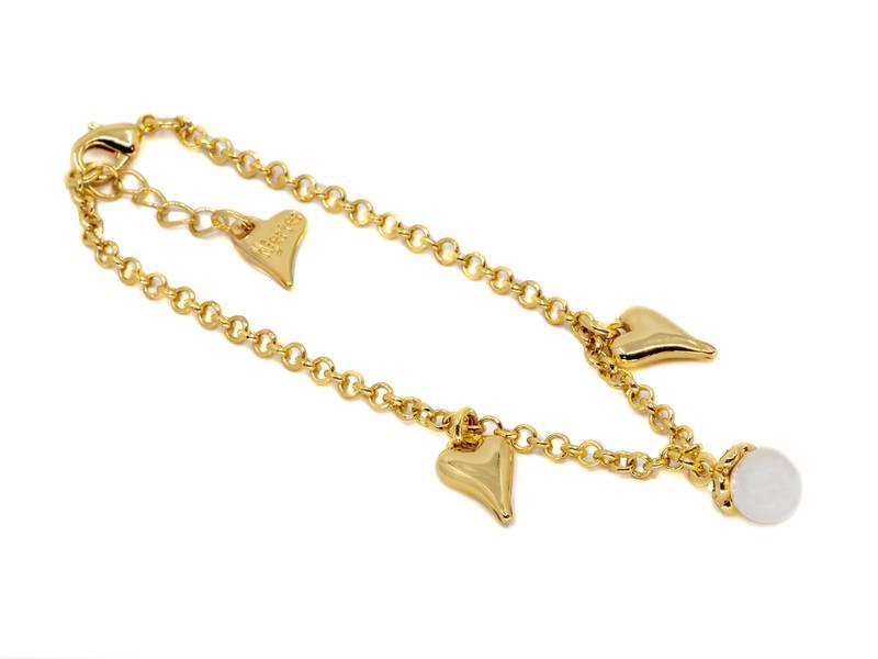 20308 Armbånd perle og hjerte gullfarget