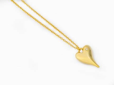 Bilde av 10679 Langt smykke hjerte lykke gullfarge
