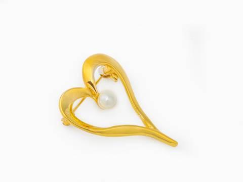 Bilde av 40061 brosje gullfarget med perle