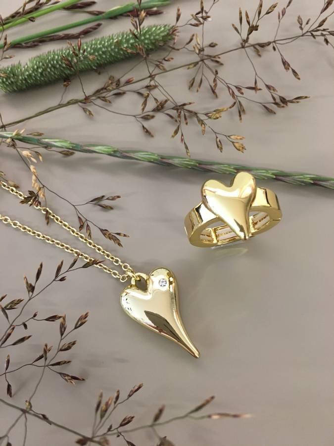 10679 Langt smykke hjerte lykke gullfarge