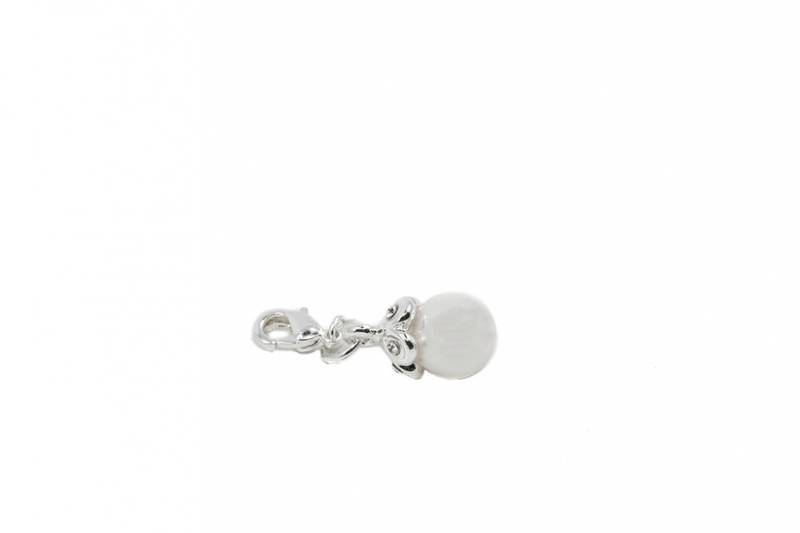 40076 Clips hvit perle sølvfarget