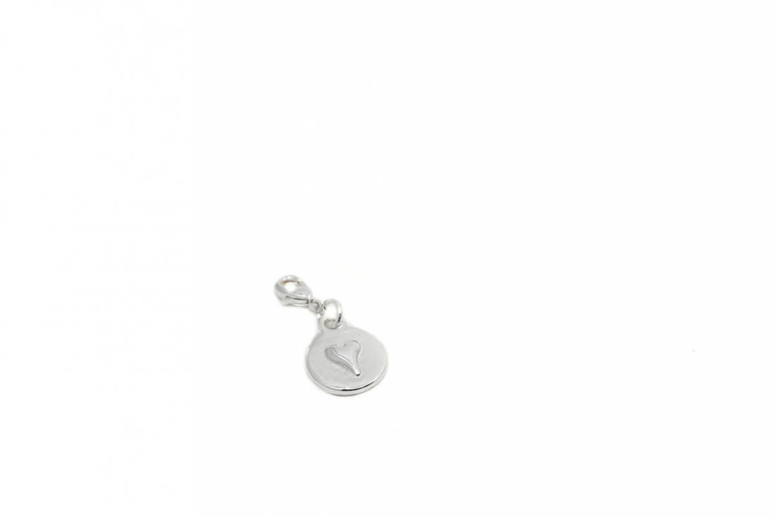 40078 Clips sirkel med hjerte og lykke sølvfarget