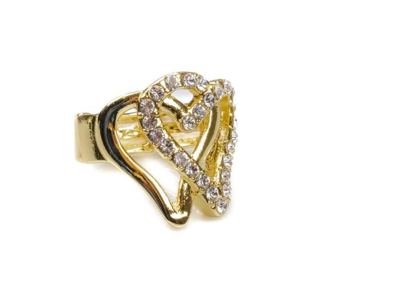 30105 Ring åpne hjerter gull med stener