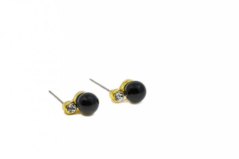 60153 Øredobb sort perle og sten