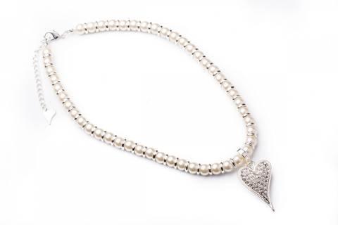 Bilde av 10500 Kort smykke hvite perler