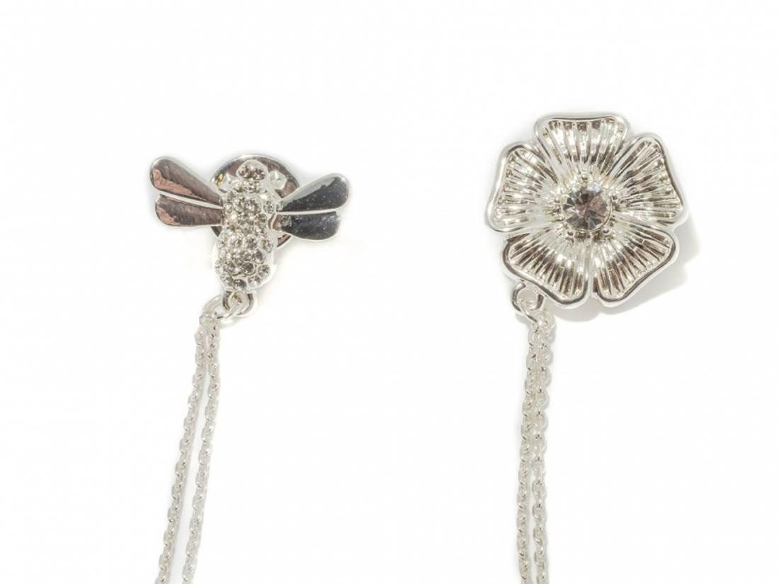 60505 Brosje/bluse pynt sølvfarget bie og blomst