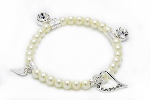 Bilde av 20244 hvite perler hjerte med stener
