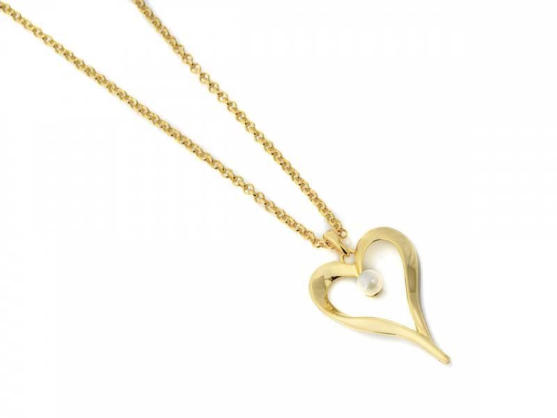 10683 Kort gullf åpent hjerte perle