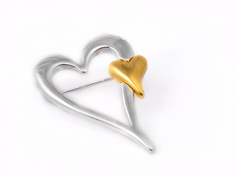 40073 Brosje sølvfarget blankt gull hjerte