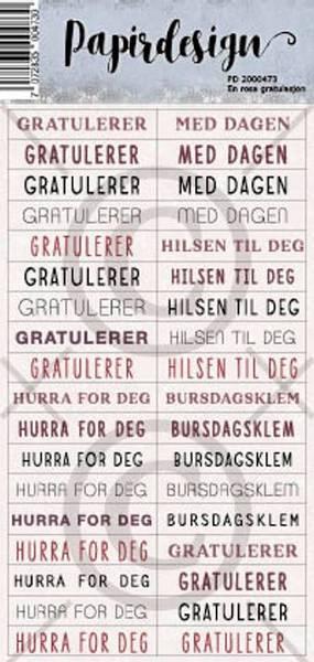 Papirdesign Klistremerker - En rosa gratulasjon