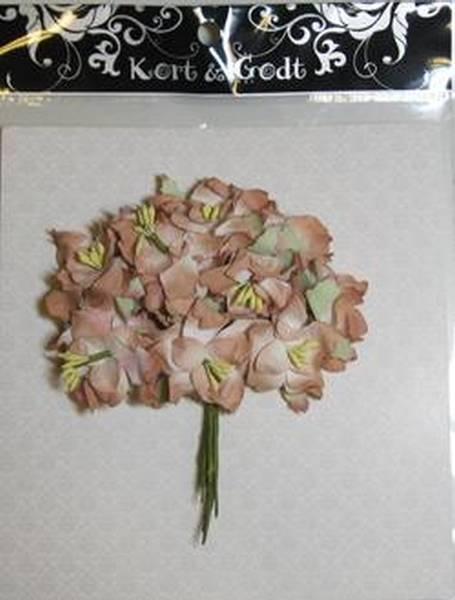 Gardenia brun 0612 Håndlagde blomster i papir, med stilk.