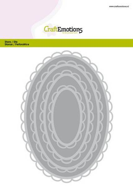 CraftEmotions Big Nesting Die - open oval scalop XL Card 150x160