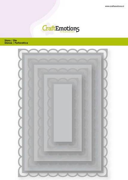 CraftEmotions Big Nesting Die - rectangles scalop XL open Card 1