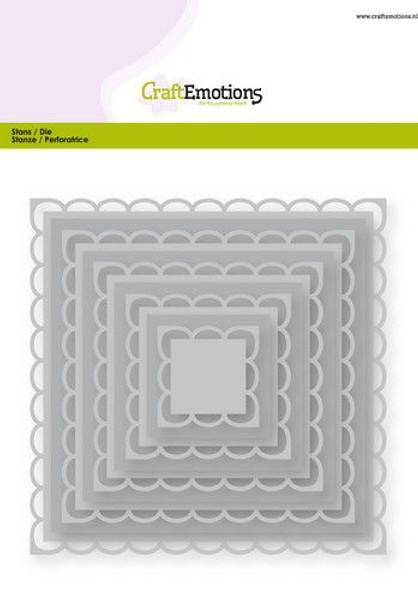 CraftEmotions Big Nesting Die - open squares scalop XL Card 150x