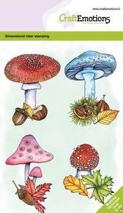 Bilde av CraftEmotions clearstamps A6 - Mushrooms