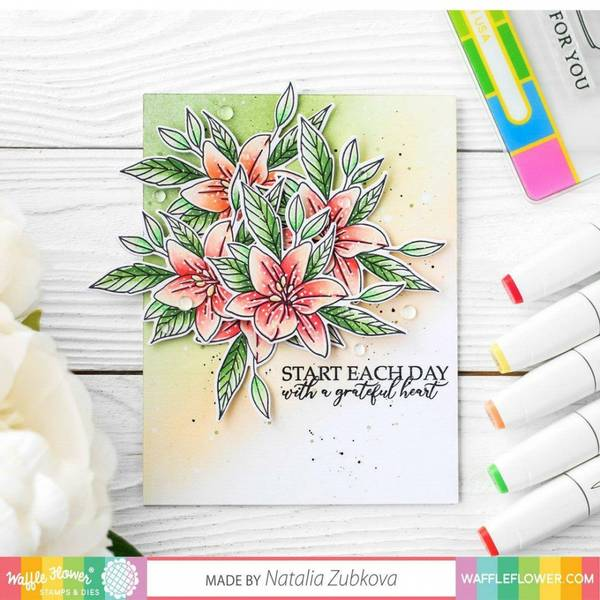 Waffle Flower Stamp & Die Set - Potted Lily
