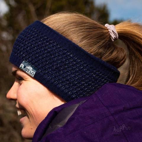 Bilde av HOPPIN PANNEBÅND MARINEBLÅ - Reflekspannebånd i ull