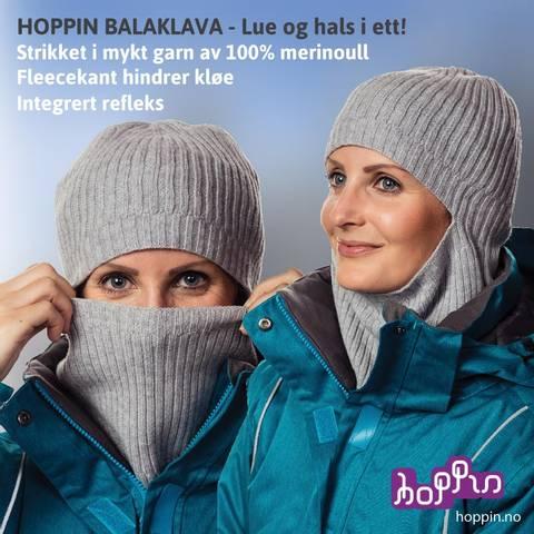 Bilde av HOPPIN BALAKLAVA GRÅMELERT - Luehals i ull - med refleks