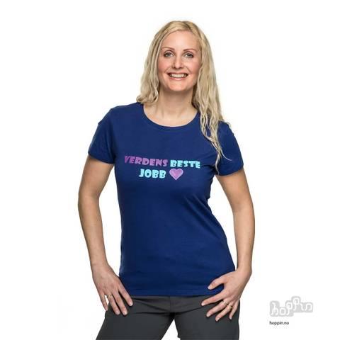 Bilde av HOPPIN T-SKJORTE BLÅ - verdens beste jobb - dame