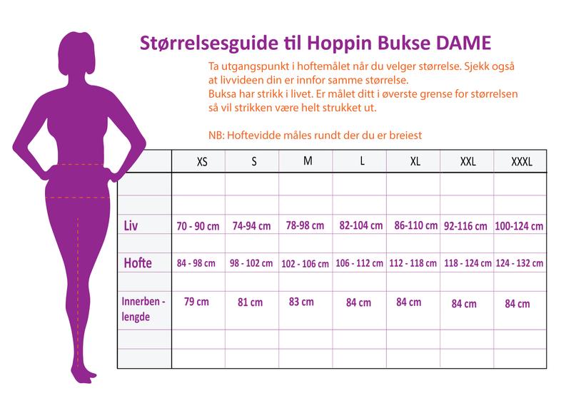 HOPPIN BUKSE SVART - med kneputer og stretch - dame