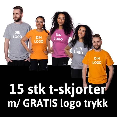 Bilde av HOPPIN T-SKJORTER 15 stk - GRATIS logo trykk