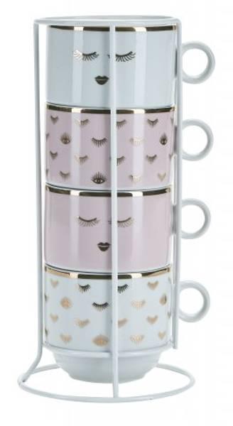 4 stk kopper, rose designs, Miss Etoile