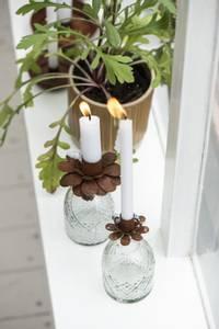Bilde av Lysholder til kronelys, blomst, rust