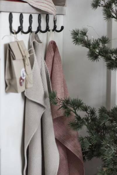 Håndkle strikket beige mynte
