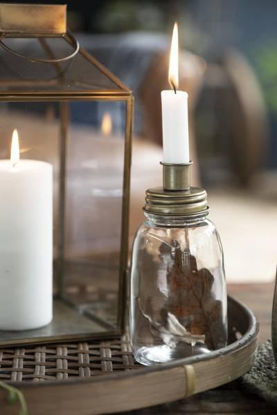 Lysestake i glass til kronelys med metallokk