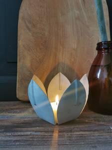 Bilde av Te-lysestake blomst zink