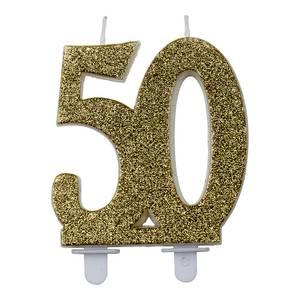 Bilde av Kakelys glitter gull 50år