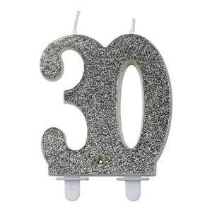 Bilde av Kakelys glitter sølv 30år
