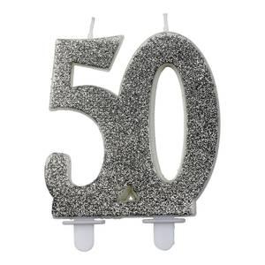 Bilde av Kakelys glitter sølv 50år