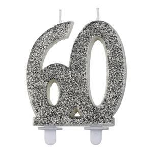 Bilde av Kakelys glitter sølv 60år