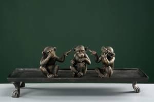 Bilde av Aper Ikke se-høre-snakke, 3 stk i sett gull/brun