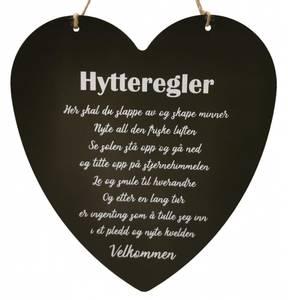 Bilde av Metallskilt hjerte stort Hytteregler sort 16x17cm