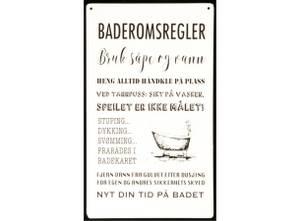 Bilde av Metallskilt Baderomsregler m/tekst hvit 16x27cm