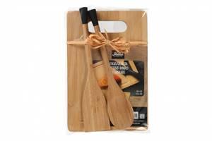 Bilde av Bambus skjærebrett med 1 stekespade og 1 sleiv