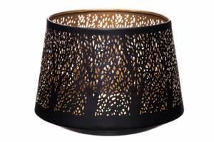 Bilde av Lyslykt sort metall med tremønster. Gullfarget
