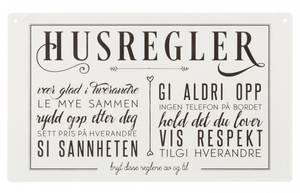 Bilde av Metallskilt Husregler m/tekst hvit