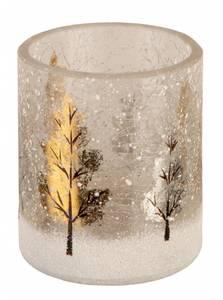 Bilde av Lysglass trær m/snø krakkelert, 6.5x7.5cm