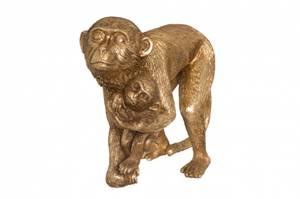 Bilde av Ape med baby gull 24cm