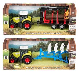 Bilde av Traktor med lys/lyd, friksjon og henger, 2 ass