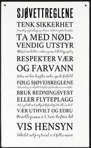 Bilde av Metallskilt Sjøvettregler m/tekst Str: 16x27cm