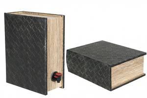 Bilde av Vinboks bok flettet lær 26x20x10cm