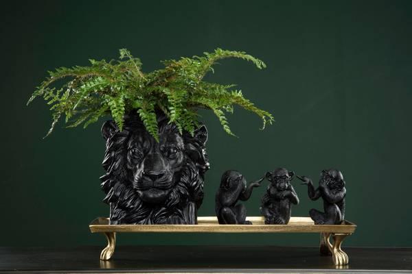 Blomsterpotte Løve Svart/Brun