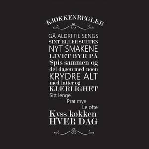 Bilde av Serviett lunsj Kjøkkenregler sort 20 stk, 33x33cm