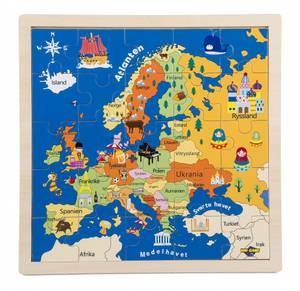 Bilde av Puslespill EU kart Brett med treramme og